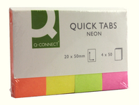 Q Connect Quick Tabs 20X50 Neon Pk160