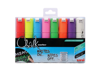 Uni Chalk Markers Broad Assorted Pk8