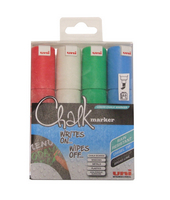 Uni Chalk Markers Broad Assorted Pk4