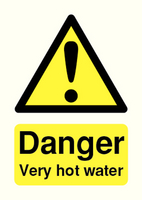 Danger Very Hot Water 75x50mm PVC
