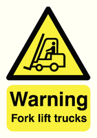 Warning Fork Lift Trucks A5 PVC HA23851R