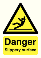 Danger Slippery Surface A5 PVC HA16451R
