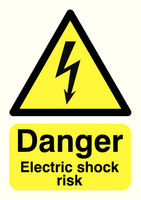 Danger Electric Shock Risk A5 PVC