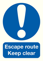 Escape Route Keep Clear A5 PVC FX01051R