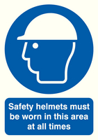 Safety Helmets Must be Worn A4 PVC