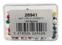 Map Pin Pk100 Assorted 26941